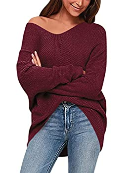 ANRABESS Women s Batwing Sleeve Dolman Ribbed Knit Sweaters Oversized V-Neck Pullover Tops A239jiuhong-L Wine Red