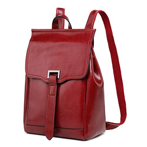 Pingdi Damen Rucksack aus echtem Leder mit Schulterriemen, Schultasche Gr. One size, R
