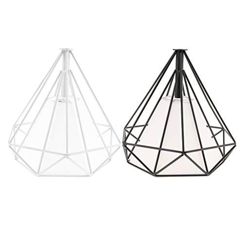 sharplace 2pcs lámpara (hierro forma diamante (jaula de techo LED decoración casa Hotel Bar Cafétéria negro, color blanco