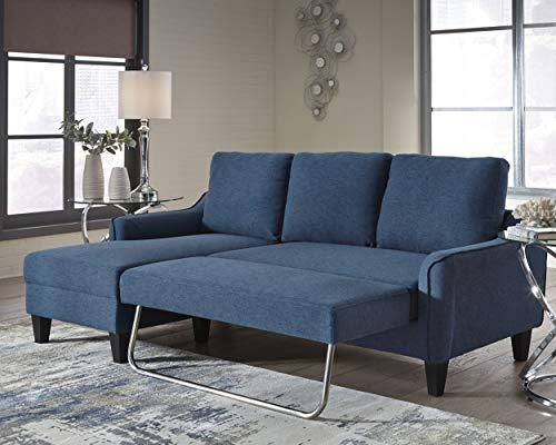 Signature Design by Ashley - Jarreau Mid-Century Upholstered Sofa Chaise Sleeper, Blue