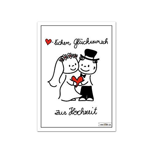 Herzlichen Glückwunsch zur Hochzeit Karte - Brautpaar - Lustiges Design - Cartoon Comic - Set zu 10 Stück