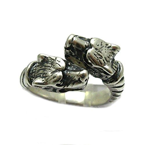 Sterling silber 925 Ring zwei Wölfe R001735