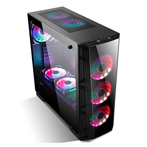 GOLDEN FIELD Z7-F Case PC Gaming, Vetro Temperato, ATX/Micro ATX Mid-Tower Case PC, 3* Ventole LED