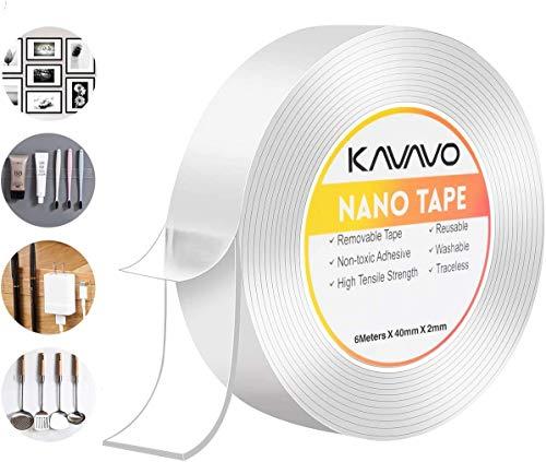 Nano Magico Nastro Biadesivo Riutilizzabile,600cm Multifunzionale Nastro di Colla Trasparente Rimovibile Senza Traccia, Lavabile Forte Adesivo Antisci