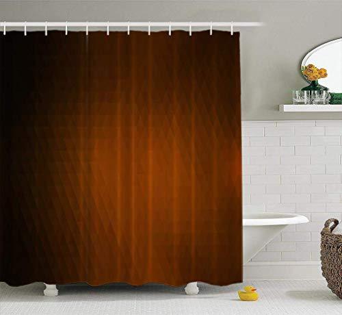 N\A Brauner Duschvorhang, dunkelbraunes abstraktes Mosaik dreieckig geometrisch mit Farbverlauf Bad Duschvorhang Polyester wasserdichter Stoff mit 12 Haken