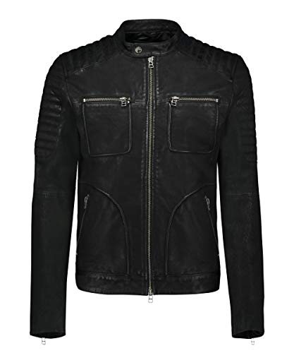 Goosecraft Alwin Biker Chaqueta, Negro (Black), S para Hombre
