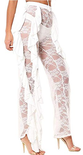Women Perspective Sexy Lace Pants Tulle Bloomers See Through Sheer...