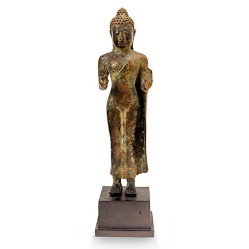 NOVICA Artisan Crafted Antiqued Bronze Standing Buddha Sculpture from Indonesia 'Abhaya Mudra Buddha'