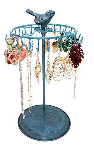 Bird Rotating Necklace Holder Bracelet Stand   Jewelry Organizer   Jewelry Tree ,Turquoise