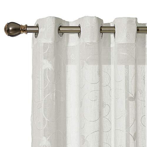 Deconovo Voile Ösen Vorhänge Durchsichtig Gardinenschals mit Stickerei 175x140 cm Creme Blumen 2er Set, Stoff, 175x140