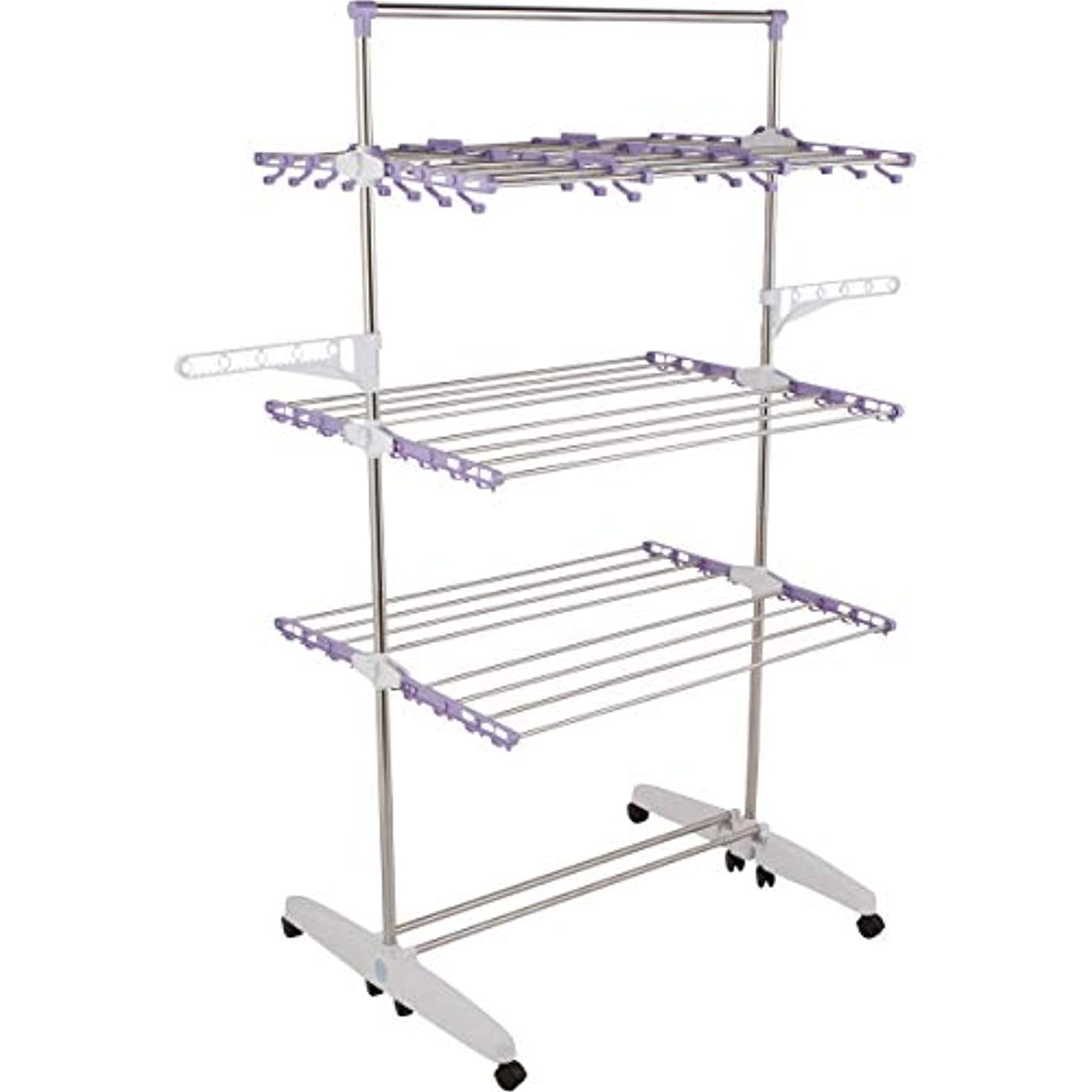 !iT Jeans High Capacity Heavy Duty 3-Tier Premium Clothes Drying Rack - Fully Adjustable Stainless Steel Racks - Fully Foldable - 8 Casters - Indoor & Outdoor