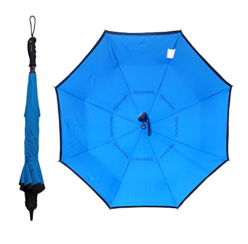BETTERBRELLA Inverted Umbrella Windproof, Waterproof, Double Canopy Layer, Compact and Reverse Folding for Car, Travel and Outdoor Use, Rain or Sun, Blue