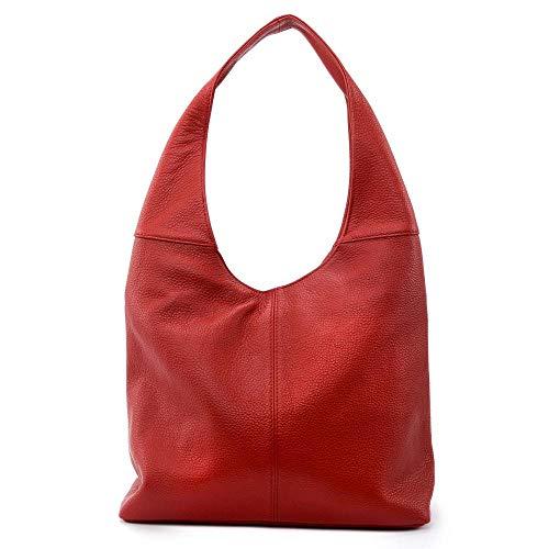 OH MY BAG, borsa modello ELLEN, in vera pelle goffrata portata, spalla e mano Made in Italy, per donna, elegante e sobrio blu anatra, taglia unica, (rosso chiaro), Taglia unica