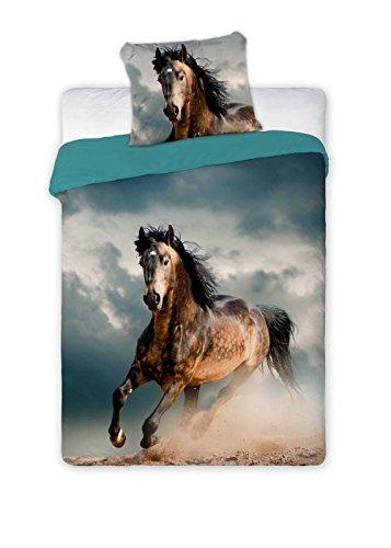 Unbekannt Faro 2 TLG Pferde Jugend Bettwäsche Baumwolle Best Friends 005 140x200, Mehrfarben, 200 x 140 cm