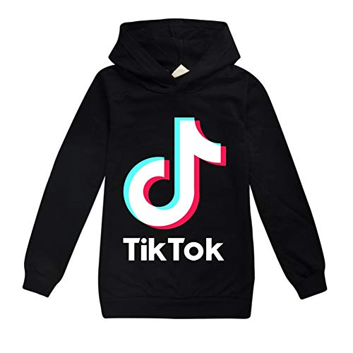 Sudadera con logotipo de Tik Tok, con capucha, para deportes, actividades al aire libre, unisex, ropa de abrigo para niños (negra, para 11 a 12 años)