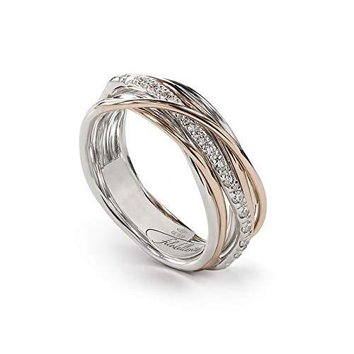 Filodellavita Anello 7 Fili in Oro Rosa 9 KT, Argento 925 e Diamanti Bianchi della Collezione Classic - AN7ARBT