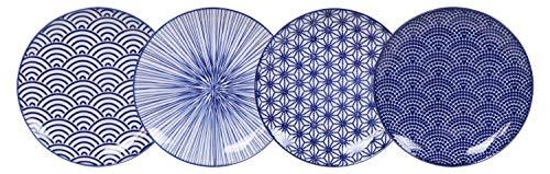 TOKYO design studio Nippon Blue 4-er Teller-Set blau-weiß, Ø 16 cm, ca. 2 cm hoch, asiatisches Porzellan, Japanisches Design mit geometrischen Mustern