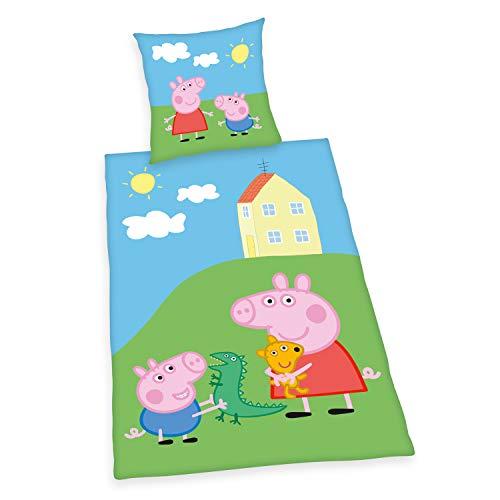 Herding Peppa Pig - Juego de Cama Reversible (70 x 90 cm, Funda de edredón de 140 x 200 cm, algodón), Multicolor
