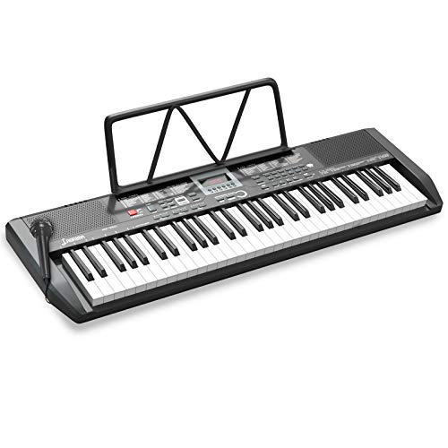 LAGRIMA LAG-730 61 Key Portable Electric Keyboard Piano with Built In Speakers, Digital Display Screen, Microphone, Dual Power Supply, Recording, Music Sheet Stand for Beginner, Kid, Adult, Black