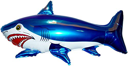 SPACE PET SHARK Blue 42 inch STRINGLESS FLYING PET Balloon ANTI-GRAVITY INDOOR TOY HOVERS and FLOATS in MID-AIR - Includes Height Control Weights