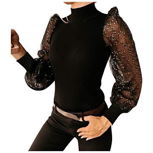 Janly Clearance Sale Tops de manga larga para mujer, de moda, casual, de malla, lentejuelas brillantes, manga abullonada, blusa de color liso para regalos de Pascua (Negro-M)