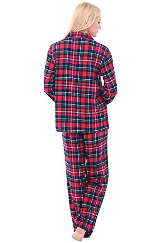 Alexander Del Rossa Women's Warm Flannel Pajama Set, Long Button Down Cotton Pjs, Large Red and Green Christmas Plaid (A0509Q19LG)