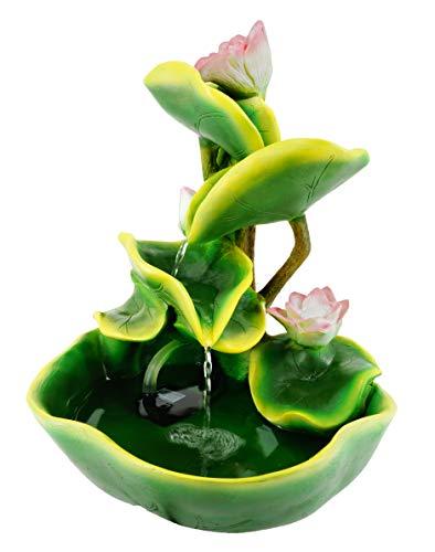 abc HOME living Seerosen dekorativ wirkt beruhigend Luftbefeuchter, Polyresin, Zimmerbrunnen Wasserlilien, ca. 26 cm T x 27 cm B x 34 cm H