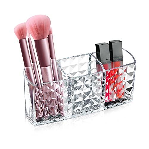 Ubitree Make Up Halter, 3 Fächern Kosmetik Organizer für Makeup Pinsel Eyeliners Lippenstift Wimperntusche, Acryl Kristall Aufbewahrungsbox für Badezimmer Schlafzimmer Waschtische Büro Schreibtisch