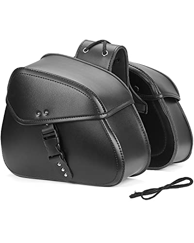 Kemimoto Saddlebags Motorcycle, Throw Over Bags, Leather Side Saddle Bags, Compatible with Kawasaki Sportster Medium Black