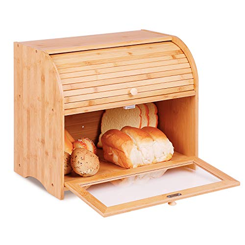 2 Layer Bamboo Roll Top Bread Box Large Capacity Bread Keeper Kitchen Food Storage with Transparent Window- Assembly Required