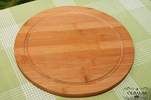 7x Schneidebrett, Grillbrett, Grill-und Servierbretter, Servierplatte Bruschetta-Schneide- und Grill-Brett 7 Stück aus dunkles Bambus - massive, hochwertige ca. 30cm x 1,2cm starke Holzbrett rund - o