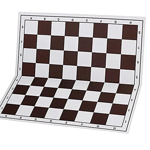 GLXLSBZ Tablero de ajedrez, Tablero de ajedrez de 20 x 20 Pulgadas, Material de PVC, Tablero de ajedrez con símbolos Cuadrados y algebraicos de 2,2 Pulgadas, marrón Oscuro (Juego de Rompecabezas)