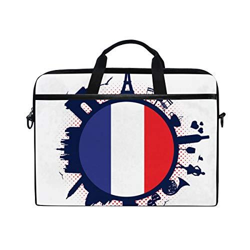BEITUOLA 15-15.4 Zoll Laptop Taschen,Frankreich Flagge Silhouette Sehenswürdigkeiten,Verschiedene Muster multifunktionale Laptop Tasche tragbare Hülle Aktentasche Umhängetasche