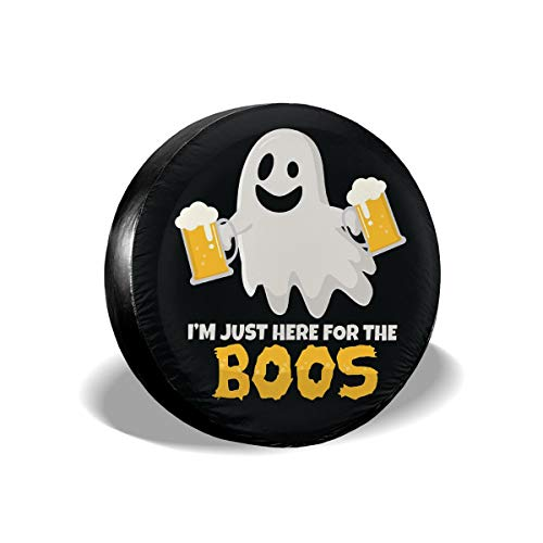JKqueen Here for The Boos Drinking Beer Halloween Ghost Spare Tire Cover Universal Wheel Tire Cover for Jeep Trailer RV SUV Truck Camper Travel Trailer Accessories