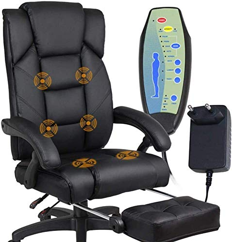 TGFVGHB Silla de la computadora de Oficina de Alta Volver cómodo sillón reclinable Silla de Oficina, Cuero Artificial rotativo Ordenador Escritorio y Silla, Suave cojín de Espuma