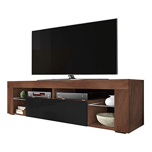 Selsey BIANKO – TV-Lowboard/TV-Schrank in Holz-Optik Nuss Caravaggio mit Klappe in Schwarz Hochglanz Stehend 140cm