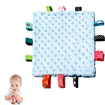 Baby Tags Security Blankets - Baby Soothing Plush Blanket with Colorful Tags Square Sensory Toys 10 x 10 inches for 0-12 Months Babies Blue