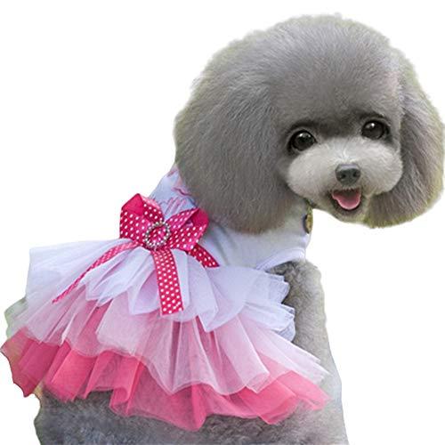 WPCASE Ropa Perros Vestido Lindo Perro Vestido De Princesa para Perros Verano para Mascotas Ropa Hermosa Mascotas Bowknot Elegante Sin Mangas del Perrito De La Falda Pink,M