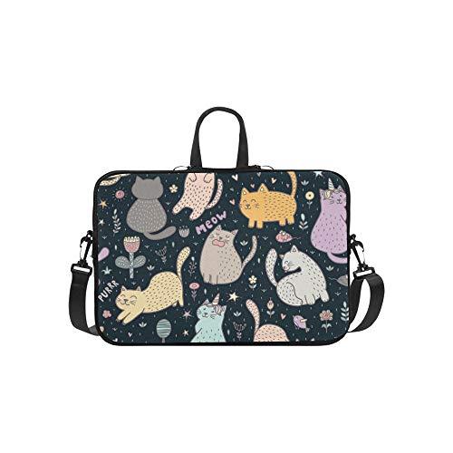 Schöne Katzen Blumen Pflanzen Niedlichen Kindisch Aktentasche Laptoptasche Messenger Schulter Arbeitstasche Crossbody Handtasche Für Geschäftsreisen