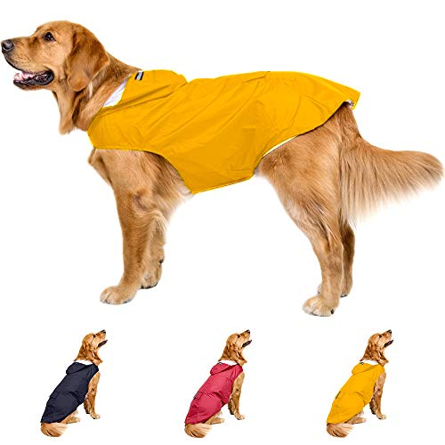 Leepets Dog Raincoat with Hood Waterproof Dog Rain Jacket Adjustable Lightweight Breathable Reflective