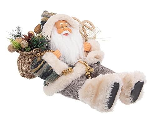 BIZZOTTO Pupazzo Babbo Natale Charles Seduto Tessuto Verde Statua Decorazione Natalizia 30 cm