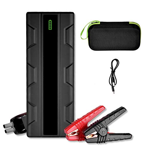 perfeciti Arrancador De Coche 12800mAh 12V Arrancador De Batería para Vehículo con Abrazaderas De Puente Inteligentes, Luze LED, Carga Rápida