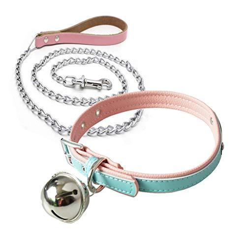 Fugift Leather BdS-M Fetish Bondage Ṡěx Collar with Leash Bell Ǎd-ult Game Ṡěx Tǒys Chain Bedroom Restraints Slave Erǒtíc Neck Collar Sѐxspíѐlzeüg