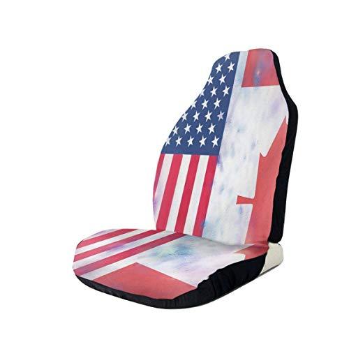Surce Auto Stoelen Cover Canadese Amerika Vlag Emmer Seat Protector Universele Flexibele Voorstoelen Cover Gemakkelijk Aan- en Uit Voorstoelen Cover met Elastische Band & Opbergtas voor RVs Mini Voertuigen