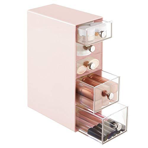 mDesign Organizador de maquillaje – Caja de almacenamiento con 5 cajones para rímel, polvos, pintaúñas, etc. – Organizador de cosméticos para baño, tocador o despacho – rosa y transparente