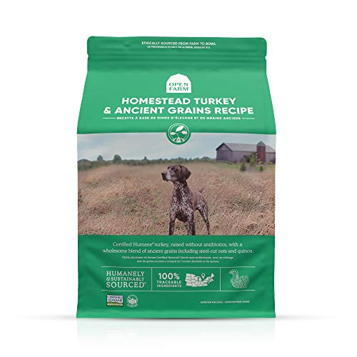 Open Farm Homestead Turkey & Ancient Grains Dry Dog Food, Family Farmed Turkey Recipe with Wholesome Grains and No Artificial Flavors or Preservatives, 4 lbs
