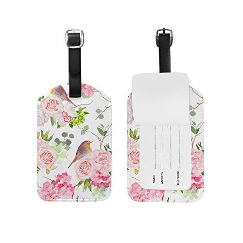 Jeansame Bagage Tag Koffer Label Gepersonaliseerde Lederen Reizen Bagage Tag Roze Rose Pioen Orchidee Robin Vogels Bloemen Retro Frans