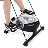 Under Desk Bike Pedal Exerciser 2 in 1 Stationary Magnetic Exercise Bike with LCD Monitor for Arm Leg Body Workout for Men and Women at Home and Office (Resistance Bands Included)