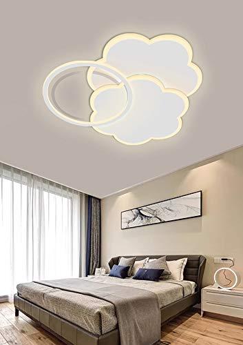 Luz de dormitorio romántica LED lámpara de techo creativa para habitación en forma de nubes, flores o estrellas habitación infantil sala de estudio (Luz cálida, Flor 54 * 50cm / 84W)