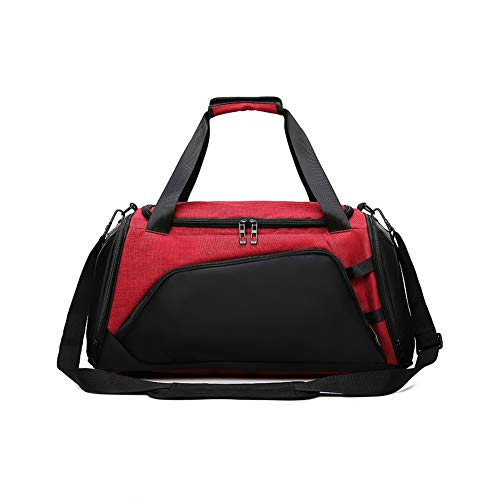 Travel Sport Bag Unisex Adult - Gym Duffelbag With Shoes Compartment,big Capacity Holdall With Shoulder Strap,for Sports, Travel (red)